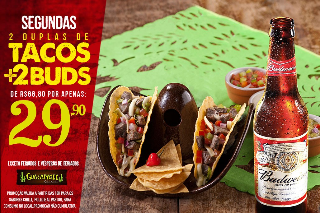 Dupla de tacos + Bud