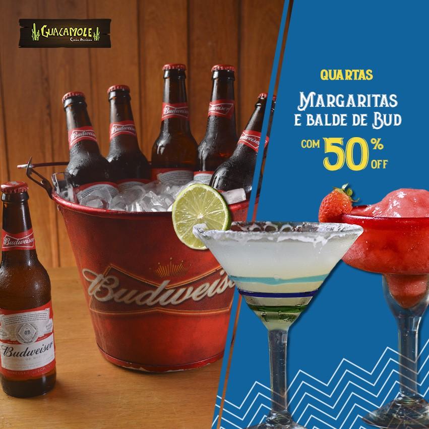 Margarita e Balde de Bud 50%