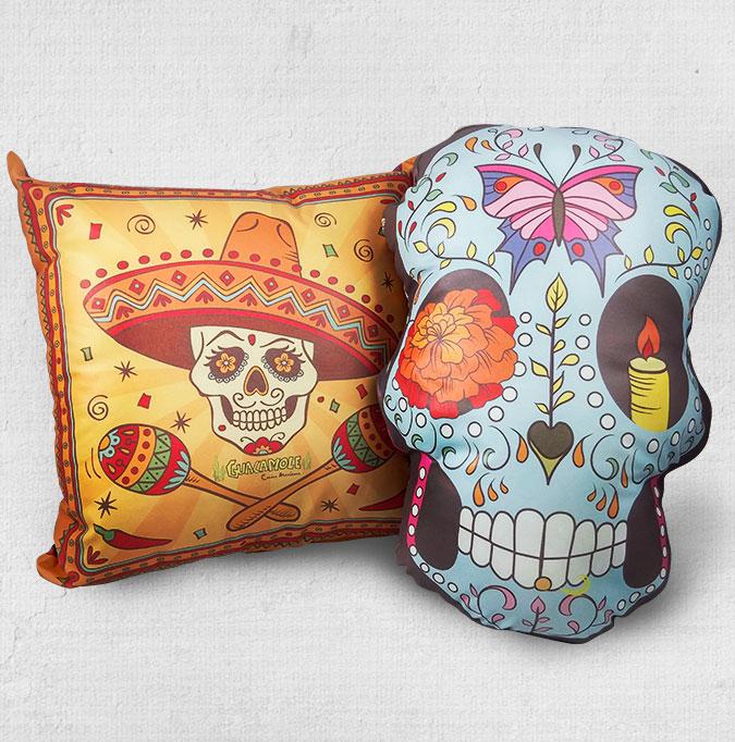 Almofada de caveira mexicana em formato quadrado e de caveira